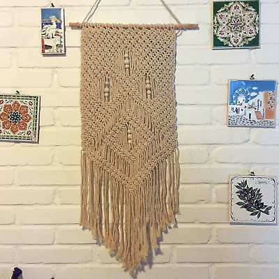 Natural Cotton Handmade Wall Hanging Tapestry Rope Bohemian Room Decor