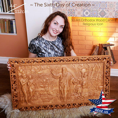 "39""✅22""Sixth day of Creation Wood Carved paintg The bible pictures orthodox icon"