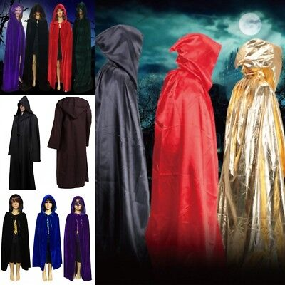 AU Medieval Velvet Hooded Cloak Wicca Long Robes Halloween Witchcraft Larp Capes