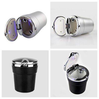 Portable LED Blue Light Car Travel Stainless Cigarette Ashtray Stand Cup Holders