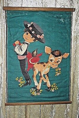 Vintage Cotton Wall Hanging Whimsical Bullfighter & Cow / Bull ? 1970's  68CmL