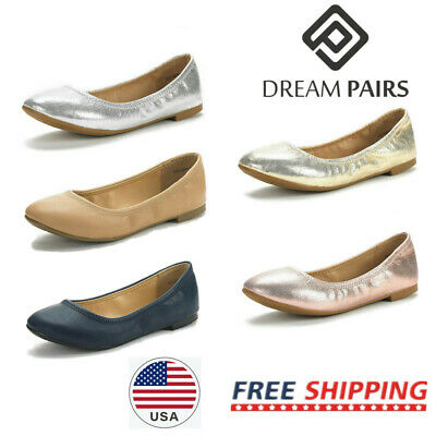 DREAM PAIRS Women's Ballerina Ballet Shoes Ladies Classic Slip On Flat Shoes