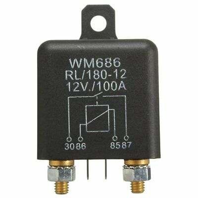12V 100Amp 4-Pin Heavy Duty ON/OFF Switch Relay For Auto Boat Van Black N9L8