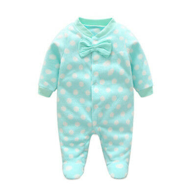 Bbaby Warm Rompers Cotton Polar Fleece Girls Bowknot Clothes Rompers  One-Pieces