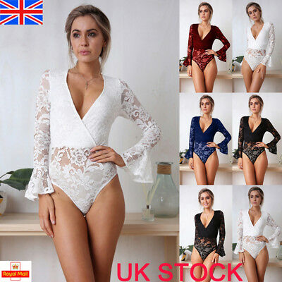 Womens Flare Sleeve Plunge V Neck Full Lace Cross Bodycon Bodysuit Playsuit Tops
