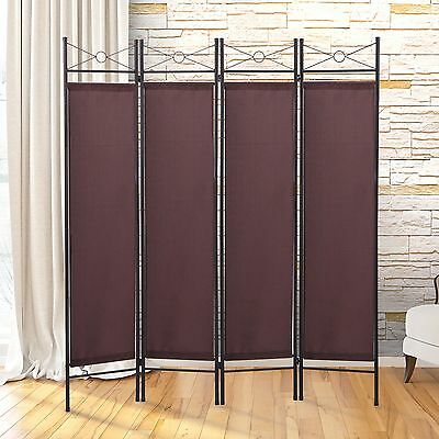 4-Panel Room Divider Privacy Folding Screen Wall Movable White Home Decor V1W1