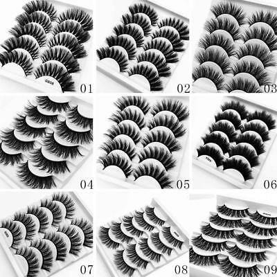 5 Pairs 3D Mink Hair False Eyelashes Thick Long Lashes Wispy Fluffy Eye Lashes