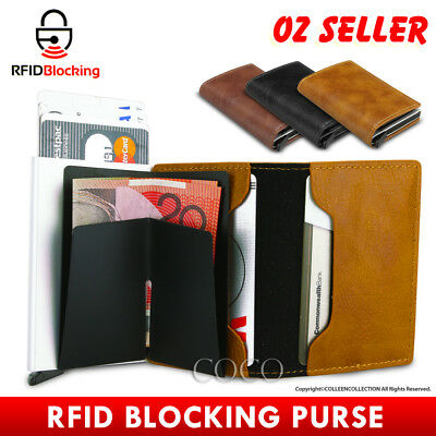RFID Blocking Leather Credit Card Holder Case Men's Money cash Wallet Clip Purse