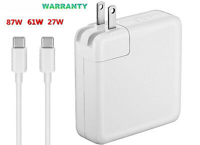 Power Adapter Charger USB-C Type C Cable 87W 61W 29W For Apple Macbook Pro 15 13
