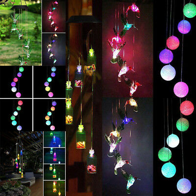 Solar Powered Wind Chimes Light Hanging LED Garden Outdoor Lamp Colour Changing