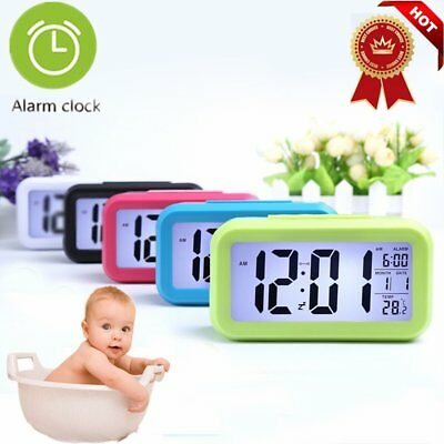 Digital LCD Snooze Electronic Alarm Clock with LED Backlight Light Control UVS##