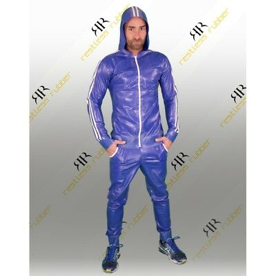 Latex Jogging Jacke Stripes Herren blau weiß NEU XS S M L XL Rubber