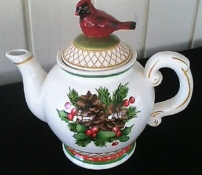 Red Cardinal Teapot Holiday Holly Pine cones Red Cardinal Teapot 2014