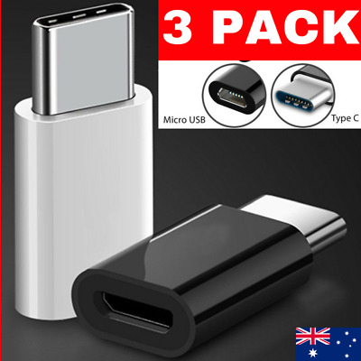 3 Pack Micro Usb Female To Type-C Male Adapter Converter Usb-C Data Cable Otg 3.