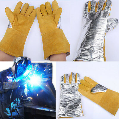 Cow Leather High Temperature Fire Heat Welders Gauntlet Lined Welding Gloves