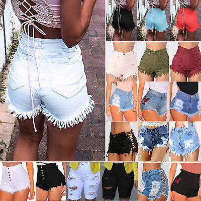 UK Womens Ladies Vintage High Waist Stretch Ripped Denim Jeans Shorts Hot Pants