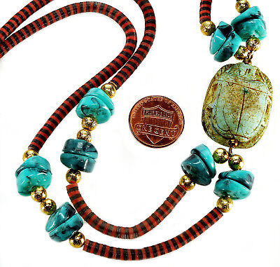 Antique Art Deco Egyptian Revival Faience Scarab, Celluloid Bead Necklace