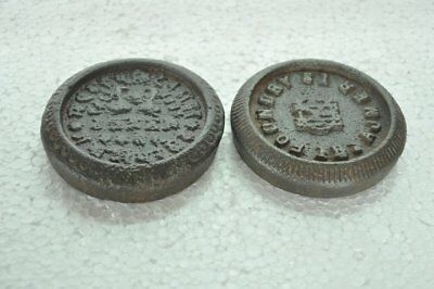 2 Pc Old Iron Handcrafted Gwalior & Ajmer State Mercantile Measuring Weight