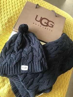 UGG Black Cable Hat And Scarf Set