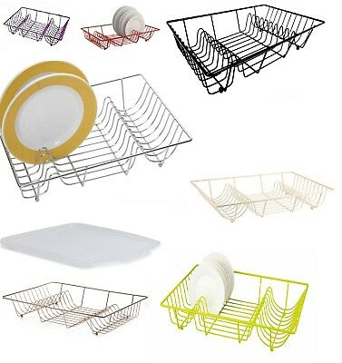 Plastic Coated Metal Wire Dish Drainer Plate Rack With Clear Plastic Drip Tray