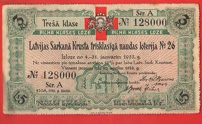 Latvia 26th Red Cross Lottery Ticket 1932