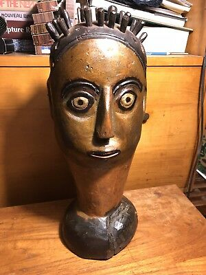Early Folk Art African Or American Bust Antique Carved Wood Sculpture