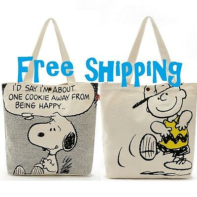 Japan Peanuts Snoopy Charlie Brown CanvasTote Bag - Cookie FREE SHIPPING