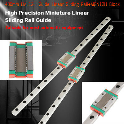 2x LML12H 400mm Fully Supported Linear Bearing Rail Shaft Rod+MGN12H Slide Block