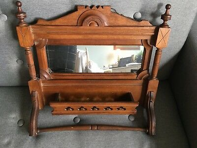 ANTIQUE VICTORIAN USA EASTLAKE Walnut WALL ART BOX SHELF GLASS MIRROR