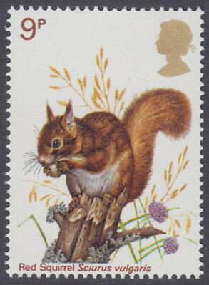 GREAT BRITAIN - 1977 9p British Wildlife CURVED LINE Variety - UM / MNH