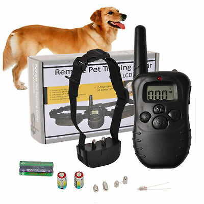 New Pet Dog Remote Training Collar Electric LCD 100LV Shock Anti Bark &Battery^