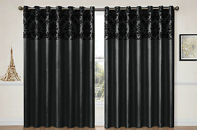 EYELET curtains RING TOP Fully Lined FLOCK DAMASK Pair Ready BLACK clearance