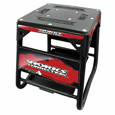 Works Connection Factory 4 Stand Black w/Red Decals-Motorcyle