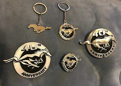 2004 Ford Mustang 40Th Anniversary Keychain Patch Emblem Pin Lot Of 5Pc