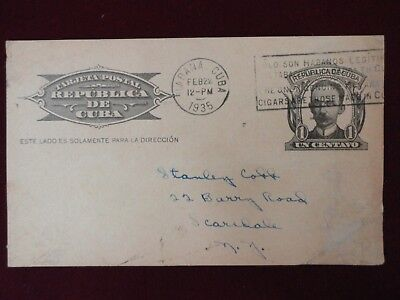 Cuba 1935 Post Card Cuba Most Popular Station With Stationery Stamp Very Rare