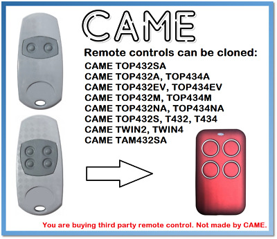 CAME TOP432EE, TOP434E Universal Remote Control Duplicator 4-Channel 433.92MHz.