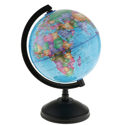 14cm Rotating World Globe Earth Map Geography Atlas Ocean National Blue