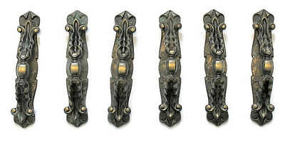 12  Large Ornate Antique Brass Drawer Cabinet Handles, W/ Escutcheon Plates