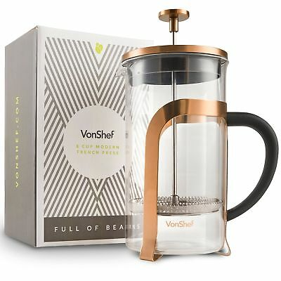 VonShef French Press 8 Cup Cafetière Glass/ Copper Coloured Stainless (p9l)