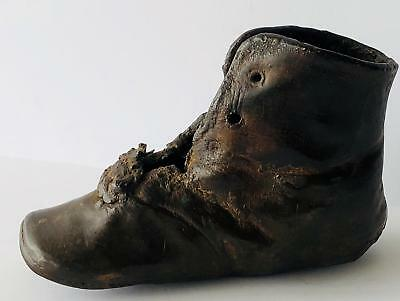 Vintage Bronze Little Girl Boy Lace Up Shoe Boot Great Patina