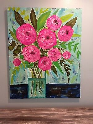 PicClick & ORIGINAL ACRYLIC PAINTING floral vase painting Flowers in a vase canvas. Peonies
