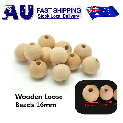 200 x 16mm Round Wood Spacer Bead Natural Unpainted Unfinished Wooden Beads Ball