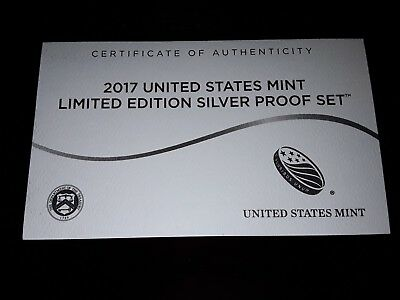 2017 US Mint Limited Edition Silver Proof Set COA ONLY