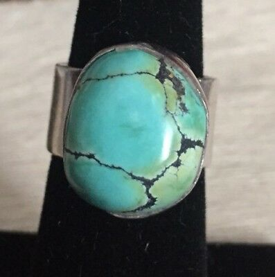Vintage Heavy Jn Navajo 925 Sterling Silver Dry Creek Turquoise Wide Shank Ring
