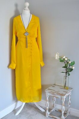 ASOS Canary yellow vintage inspired tea dress UK 4 LADIES SMALL