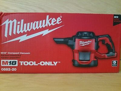 New  Milwaukee M18 18v Cordless Lithium Ion Compact Vacuum Tool Only  0882-20
