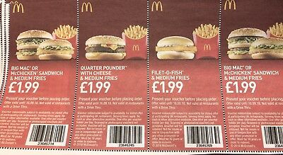 MCDonalds Food Vouchers £1.99 X 16 EXP 16/09/18