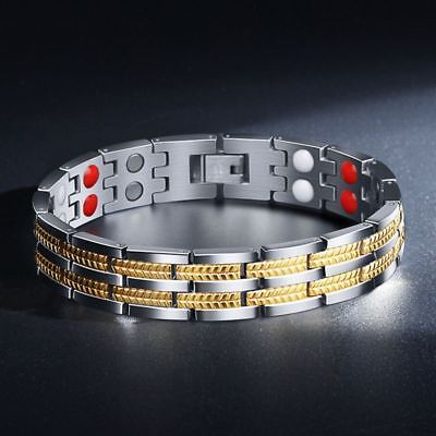 Gold Silver Tone Anion Magnetic Energy Stones Power Bracelet Health 4in1 Armband