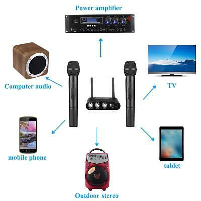 Black UHF Wireless Hand Held Microphone Mic System Karaoke Bluetooth w/ Mixer