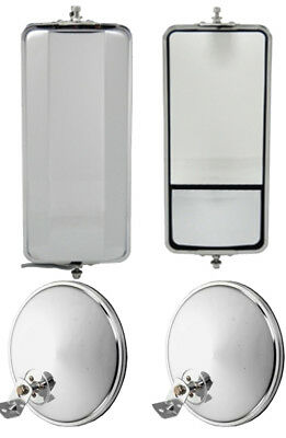 """Set of SS West Coast Mirror w/ Convex and 8.5"""" Chrome Offset Convex Mirrors"""